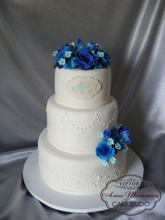 wedding cake, blue roses, blue orchids, blue flowers