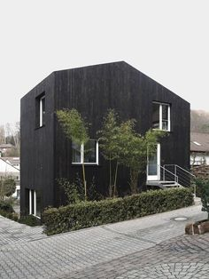 12 Modern House with Black Exteriors: Although you can't tell from this photo by Jonathan Scheder, Zwei Kleine House by Architekturbüro Scheder is actually two small prefab houses, one in front of the other.