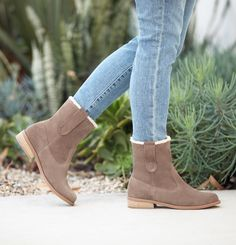 Suede short boots with faux shearling lining | Sole Society Verona