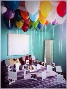 Cute idea - for a boyfriend to fill your room on a special event full of pictures of your own memories together