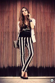 FashionCoolture - 16.03.2013 look du jour striped pants calça listrada preto e branco blazer Renner Asos Romwe  (1)