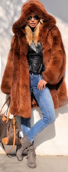 TOP Trendy FOX FUR Coat Jacket Fuchs Pelz WIE Zobel Sable Mink Nerz Chinchilla | eBay