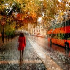 Walking in Autumn Rain wallpaper
