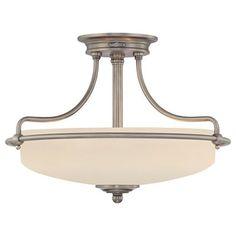 Buy the Quoizel Antique Nickel Direct. Shop for the Quoizel Antique Nickel Griffin 3 Light Wide Semi-Flush Mount Ceiling Fixture and save. Quoizel Lighting, Semi Flush Lighting, Semi Flush Ceiling Lights, Flush Mount Ceiling, Ceiling Light Fixtures, Light Fittings, Ceiling Lamp, Lighting Direct, Bedroom Ceiling