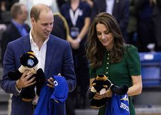 While Prince William and Kate were presented with 'Team Cambridge' jerseys by the UBC Kelowna's nationally ranked women's volleyball team, their children weren't forgotten. George and Charlotte were gifted sweet matching teddy bears with the UBC logo.