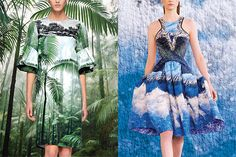 Turf and Surf    Dries Van Noten (left), available at Barneys. Peter Pilotto (right)