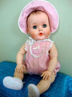 "21"" Vintage Tommy Toodles Baby Doll by American Character Original Romper 