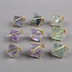 Beautiful Gold Plated Pyramid Rough Mult-Color by Druzyworld