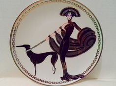 House of Erte Decorative Plate Symphony In Black 1993 Limited Addition Franklin Mint No. I8449 Vintage Home Decor Wall Art Art Deco Style