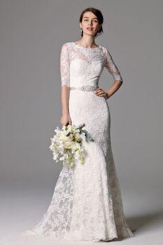 elbow sleeve lace wedding dress