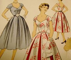 Vintage Sewing Pattern 1950s Evening Dress by yellowcabvintage