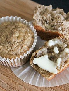Check out our recipe for healthy muffins made with bananas and applesauce, with no additional sugar. Click through for recipe!