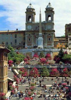Una linda mañana en la Plaza de España de Roma...Buenos días!!