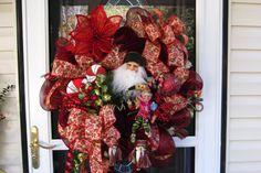 Santa Christmas Mesh Wreath by WreathsEtc on Etsy, $145.00