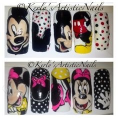 Mickey and Minnie Mouse Nail Art all nail polish design Minnie Mouse Nail Art, Mickey Mouse Nails, Cute Nail Art, Cute Nails, My Nails, Nail Polish Designs, Nail Art Designs, Painted Nail Art, Nail Art Galleries