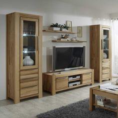 Wildeiche Wohnwand Mit Beleuchtung Massiv (5 Teilig)  Wohnzimmerschrank,wohnwand,anbauwand,wohnwand Massiv,wohnwand  Massivholz,wohnwand Holz,wohnzimmer ...
