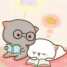 When u told me ur hungry 😂 Cute Cartoon Images, Cute Couple Cartoon, Cute Love Cartoons, Cute Cartoon Wallpapers, Cute Kawaii Animals, Kawaii Cat, Cute Kawaii Drawings, Kawaii Doodles, Chibi Cat
