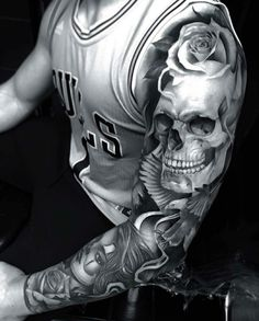 Check out this Firme work by Artist - Tattoos Skull Sleeve Tattoos, Best Sleeve Tattoos, Tattoo Sleeve Designs, Rose Tattoos, Leg Tattoos, Body Art Tattoos, Tattoos For Guys, Tatoos, Future Tattoos