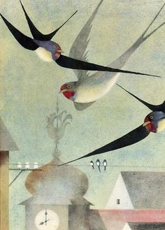 Illustration by Ota Janeček, Prague, The comment discussion suggests this might be from the Czech edition of 'To The Children' by František Halas Art And Illustration, Illustrations Posters, Inspiration Art, Art Graphique, Grafik Design, Bird Art, Beautiful Birds, Painting & Drawing, Illustrators