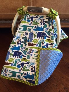 Baby Car Seat Covers  2D Zoo in Blue with Denim by kitcarsonblue