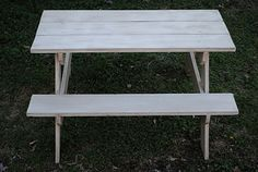 How to Build a Child's Picnic Table | tutorial Toddler Picnic Table, Picnic Table Plans, Landscape Timber Crafts, Landscape Timbers, Pallet Crafts, Kid Table, Spring Fever, Wood Projects, Home Improvement