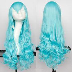 Long Wavy Oblique Bang Synthetic Cosplay Wig