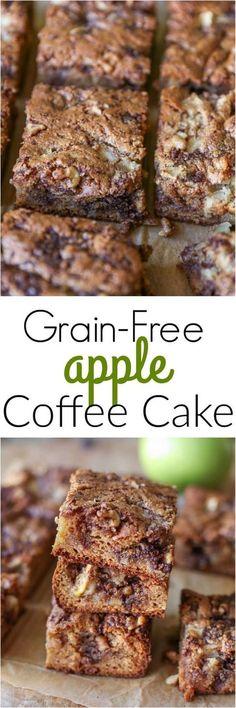 Grain-Free Apple Coffee Cake - paleo and healthy | TheRoastedRoot.net #glutenfree #dessert #fall