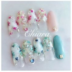 Korean Nail Art, Korean Nails, Japanese Nail Design, Japanese Nail Art, Cherry Blossom Nails, Super Cute Nails, Nail Candy, Flower Nail Art, Garra