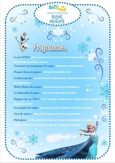 Programme activités anniversaire Reine des Neiges enfants jeux anniversaire reine des neiges
