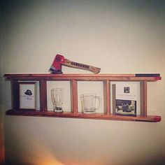 Firefighter ladder shelf from Cavella Design. Firefighter Bar, Firefighter Bedroom, Firefighter Home Decor, Firefighter Wedding, Fireman Room, Room Themes, Boy Room, Ladder Decor, Wooden Ladder
