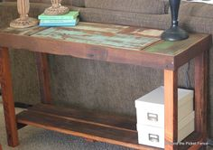 reclaimed wood sofa table tutorial http://bec4-beyondthepicketfence.blogspot.com/2014/04/reclaimed-wood-sofa-table-tutorial.html