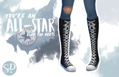 All-Star High Top Boots for The Sims 4 - Modern Sims Four, Sims 4 Mm Cc, Los Sims 4 Mods, The Sims 4 Cabelos, Muebles Sims 4 Cc, Sims 4 Cc Shoes, Sims4 Clothes, Sims 4 Cc Packs, Sims 4 Toddler