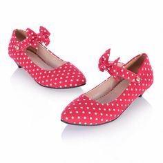 Amazon.com: Show Shine Women's Fashion Polka Dots Bows Pointed Toe Low Heel Mary Janes Shoes: Clothing