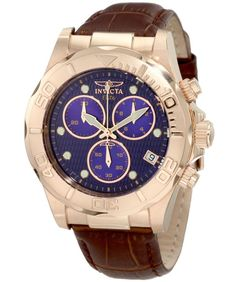Invicta 1724 Men s Pro Diver Elite Rose Gold Tone Blue Dial Chronograph  Watch Brown Leather Watch 5fac619247a6b
