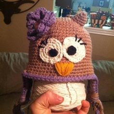 Crochet owl hat, inspiration only. No patter