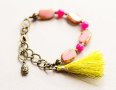 Green and Pink Tassel Bracelet Buddha by MusingTreeStudios on Etsy, $16.99 #chartreuse #pink #bohochic