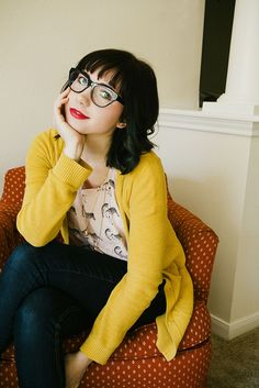 Love the glasses, sweater... great outfit.   Secret Life of Bee