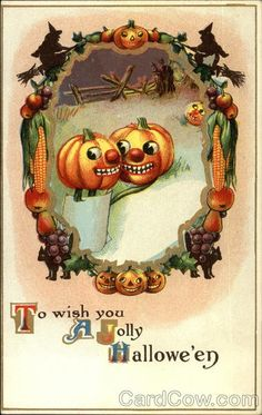 To wish you A Jolly Halloween Pumpkins in the pumpkin patch, small witch and black cat images