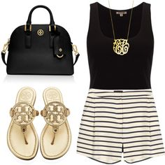 A fashion look from July 2014 featuring Jigsaw tops, Sophie Hulme shorts and Tory Burch flip flops. Browse and shop related looks.