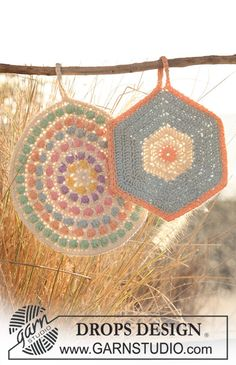 DROPS Design crochet potholders patterns