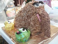 Snuffalufagus made with shredded coconut and chocolate crackle mix for baby naming