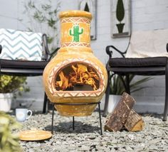 Mexican style clay chimenea with a cactus design. This chimenea comes complete with rain lid for use when the chimenea is cool.These chimeneas are all unique and hand made and hand painted therefore some patterns and colours may vary slightly.These chimenea do not need large fires as clay is very efficient. Once warm the clay can retain the heat for a long time.We suggest covering your chimenea when not in use.