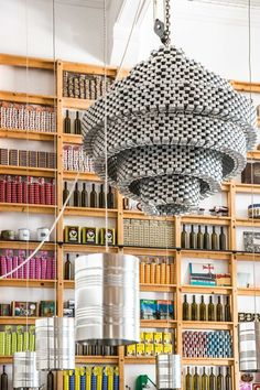 cans chandelier at Can the Can restaurant Lisbon