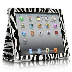 Apple iPad 3 White Zebra Portfolio Cover w/Sleeper Function