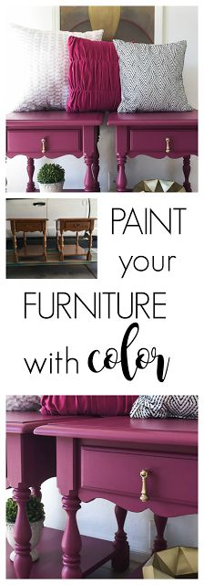 Nightstand Makeover Painted in Plum! Colorful Nightstand Makeover with Dixie Belle Paint.