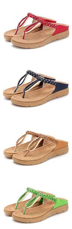 SOCOFY Rhinestone Flip Flops Soft Flat Clip Toe Beach Slippers