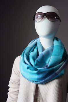 Infinity Scarf 45 silk  light blue / aqua shades by ScarfObsession, $29.00