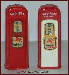 1950's Red Plastic Gas Station Salt & Pepper Shakers Mobilgas  $100.00