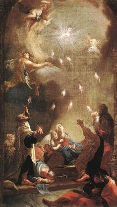 """ Romans // The Descent of the Holy Ghost (Pentecost) / La venida del Espíritu Santo (Pentecostés) // // Joseph Ignaz Mildorfer // Magyar Nemzeti Galéria"