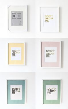 Paint frame mats to add color to cool typography prints.